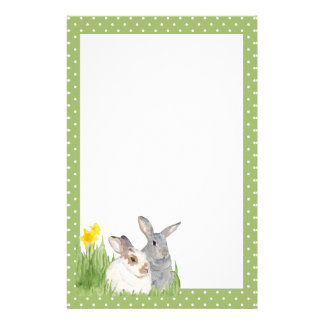 Springtime Bunnies in Flowers Stationery