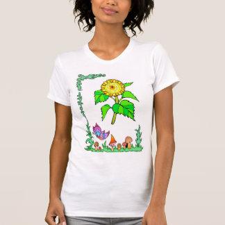 Springtime, butterflies and smiling sunflower shirt