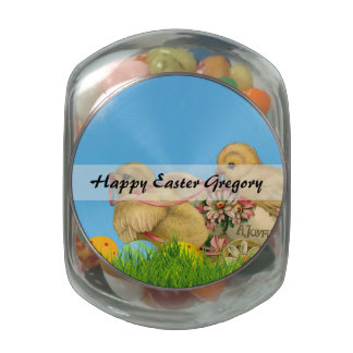 Springtime Easter Chicks Glass Candy Jars