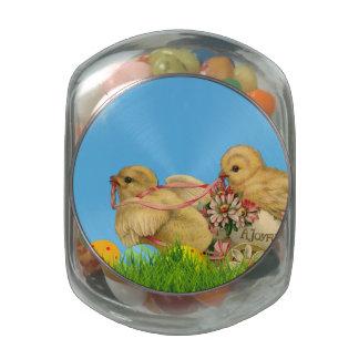 Springtime Easter Chicks Glass Jars