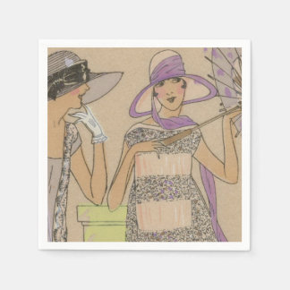 Springtime Flapper Girl's Shower Napkin