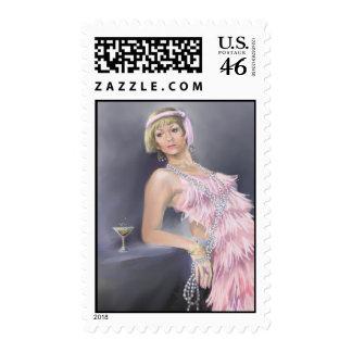 Springtime Flapper Postage Stamp