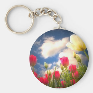 Springtime Flowers Collection I Basic Round Button Keychain