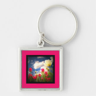 Springtime Flowers Collection I Silver-Colored Square Keychain
