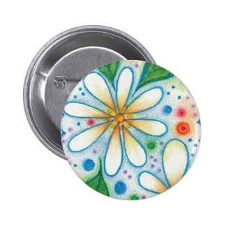 Springtime Flowers Drawing Retro Psychedelic Daisy Button