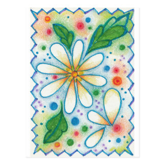 Springtime Flowers Drawing Retro Psychedelic Daisy Postcard