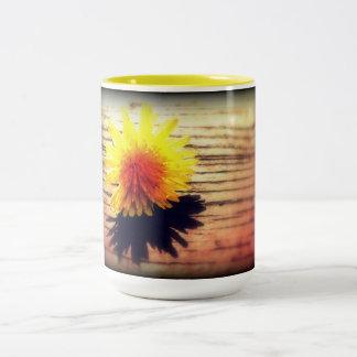 Springtime Golden Yellow Dandelion Wishes Two-Tone Coffee Mug