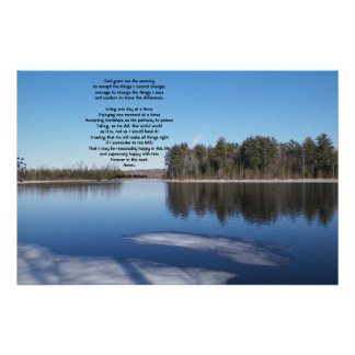 Springtime Icy River scene with serenity prayer Poster