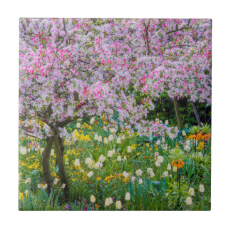 Springtime in Claude Monet's garden Ceramic Tile