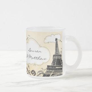 Springtime in Paris Eiffel Tower 10 Oz Frosted Glass Coffee Mug
