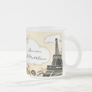 Springtime in Paris Eiffel Tower Frosted Glass Coffee Mug