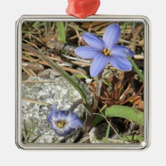 Springtime in the Mountains Purple Iris Flowers Metal Ornament