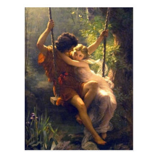 Springtime ~ Lovers on Swing Painting Postcard