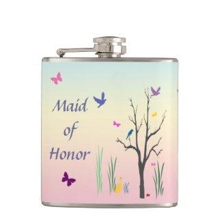 Springtime Maid of Honor Hip Flasks