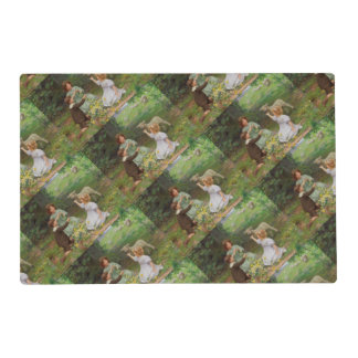 Springtime Meadow Children and Lambs Placemat