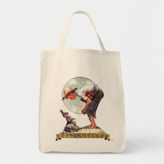 Springtime, muchacho 1935 con el conejito bolsa tela para la compra