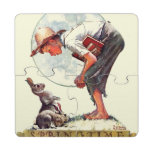 Springtime, muchacho 1935 con el conejito posavasos de puzzle