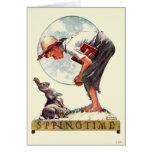 Springtime, muchacho 1935 con el conejito felicitación