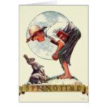Springtime, muchacho 1935 con el conejito tarjeta de felicitación