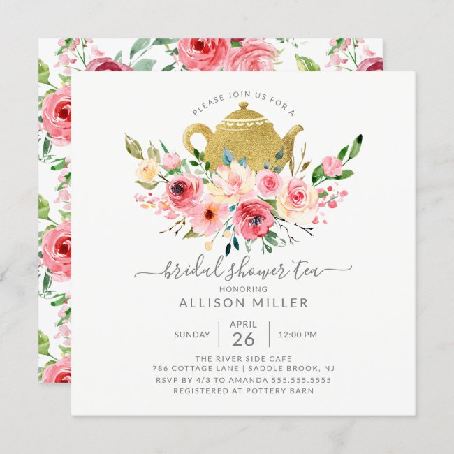 Springtime Peonies Rose Floral Bridal Shower Tea Invitation