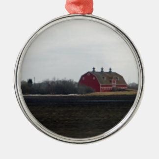 Springtime Red Barn Round Metal Christmas Ornament