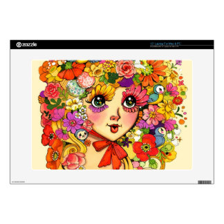 "Springtime Reverie Retro Shoujo Japan Flower Girl Decal For 15"" Laptop"
