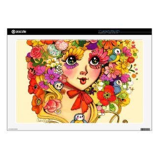 "Springtime Reverie Retro Shoujo Japan Flower Girl Decals For 17"" Laptops"