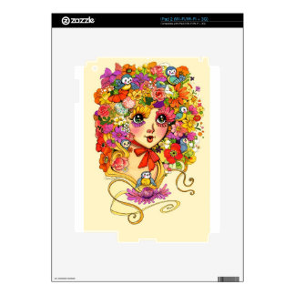 Springtime Reverie Retro Shoujo Japan Flower Girl iPad 2 Decals