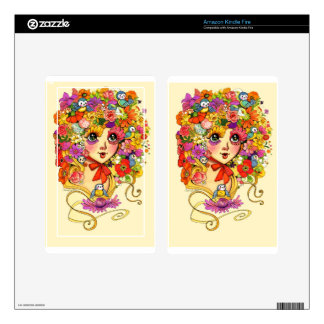 Springtime Reverie Retro Shoujo Japan Flower Girl Kindle Fire Skins