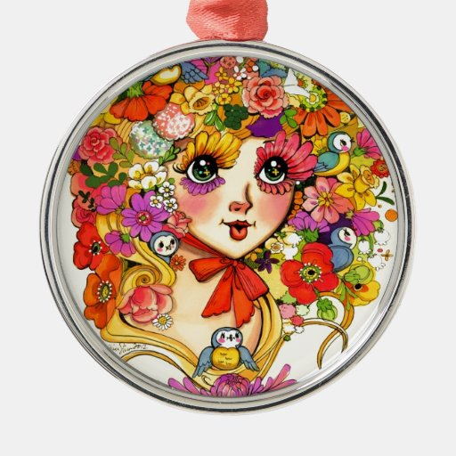 Springtime Reverie Retro Shoujo Japan Flower Girl Metal Ornament