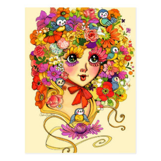 Springtime Reverie Retro Shoujo Japan Flower Girl Postcard