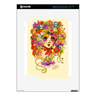 Springtime Reverie Retro Shoujo Japan Flower Girl Skins For iPad 3