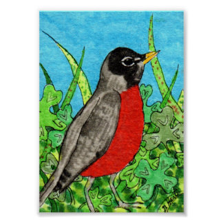 Springtime Robin in Clover Mini Folk Art Poster
