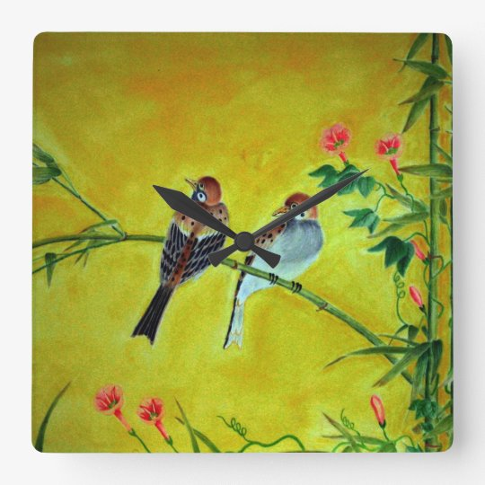 Springtime Sparrows and Morning Glorys Wall Clock