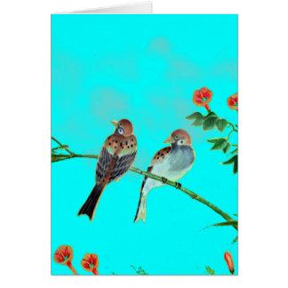 Springtime Sparrows Greeting Card