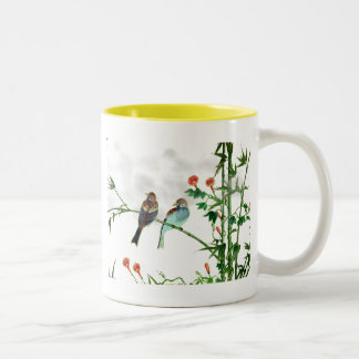 Springtime Sparrows Two-Tone Coffee Mug
