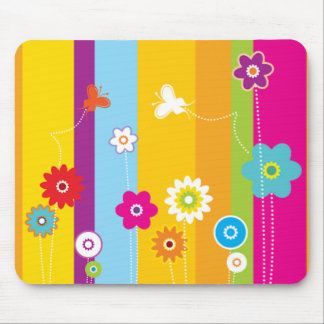 Springtime Stripes and Flowers Mouse Pad