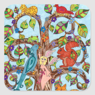 Springtime Tree of Life Square Sticker