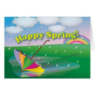 Springtime Umbrella - Greeting Card