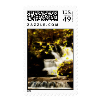 Springtime Waterfall Scene in the Poconos Postage
