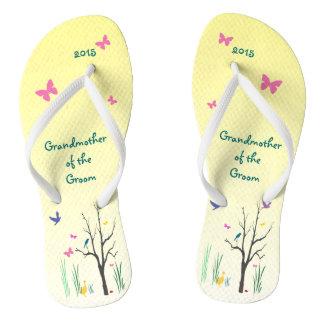 Springtime Wedding Grandmother of Groom Flip Flops