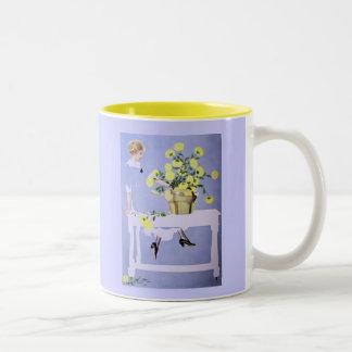 Springtime - Yellow/Blue Two-Tone Coffee Mug
