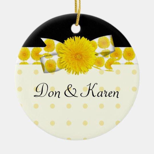 Springtime Yellow Dandelion Wedding Ceramic Ornament