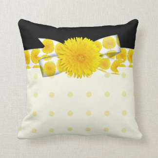 Springtime Yellow Dandelion Wedding Throw Pillow