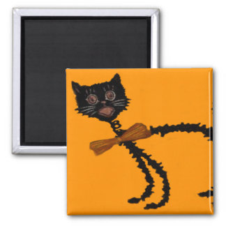 Springy Black Cat Halloween Decoration 2 Inch Square Magnet
