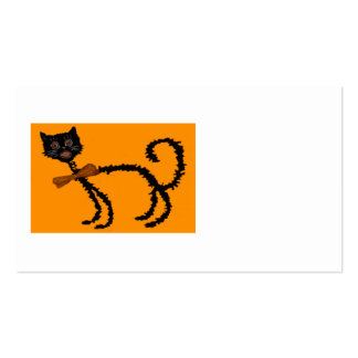 Springy Black Cat Halloween Decoration Business Card