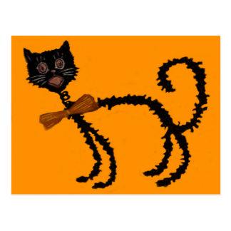 Springy Black Cat Halloween Decoration Postcard