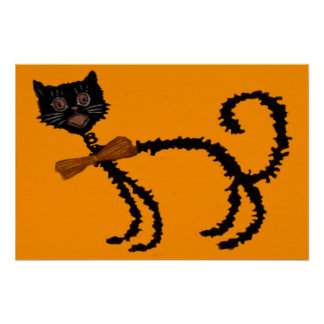 Springy Black Cat Halloween Decoration Poster