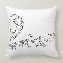 Springy Poodle Throw Pillow