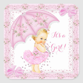 Sprinkle Baby Shower Girl Floral Pink Blonde Square Sticker
